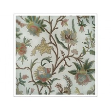 Crewel Fabric Big flowers Beige Cotton Duck