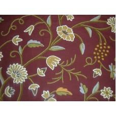 Crewel Fabric Grapes Dark Chocolate Cotton