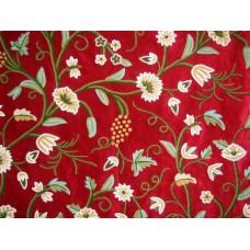 Crewel Fabric Grapes Dreams Red Cotton Velvet