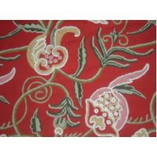 Crewel Fabric Ballard Red Cotton Dasoot