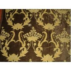 Crewel Fabric Bloom Brown Cotton Velvet