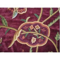 Crewel Fabric Lotus Wine Cotton Velvet