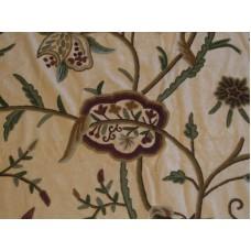 Crewel Fabric Lotus Yellow Gold Cotton Velvet