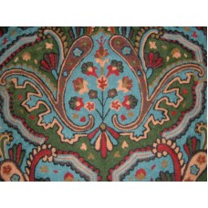 Crewel Fabric Paisley Tapestry Blue Cotton Duck