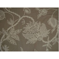 Crewel Fabric Flora White on Brown Cotton Duck