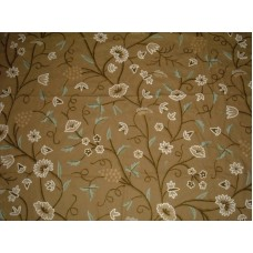 Crewel Fabric Grapes Chocolate Brown Cotton Duck