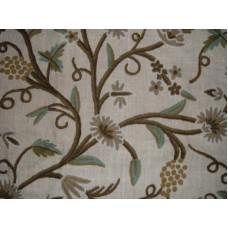 Crewel Fabric Grapes Natural White Jute