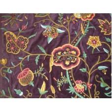 Crewel Fabric Lotus Classic Deep Purple Cotton Velvet