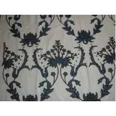 Crewel Fabric Bloom Blue on Creamy White Cotton Velvet