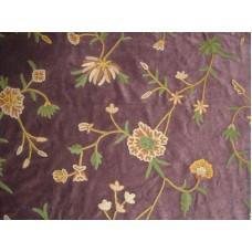 Crewel Fabric Warsi Wine Cotton Velvet