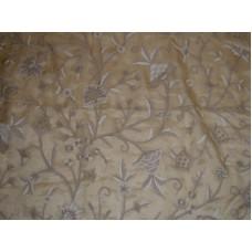 Crewel Fabric Tree of Life Neutrals on Desert Sand Silk Organza