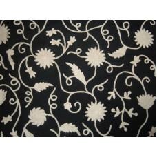 Crewel Fabric Floral Vine White On Black Nocturn Cotton Velvet