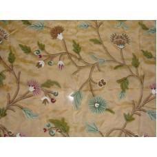 Crewel Fabric Winter Time Hay Gold Silk Organza