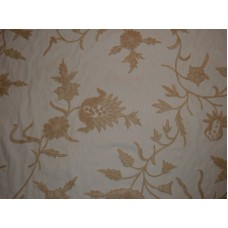 Crewel Fabric Marigold Vine Off White Cotton Duck