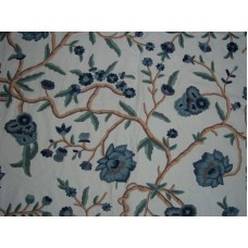 Crewel Fabric Blooms on Branches Off White Cotton Duck