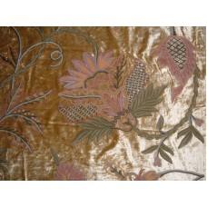 Crewel Fabric Flora Bright Gold Cotton Viscose Velvet