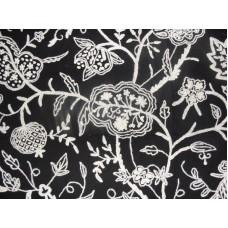 Crewel Fabric Lotus Light White on Black Cotton Duck