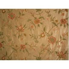 Crewel Fabric Warsi Coral Brown Cotton Velvet