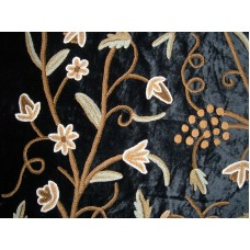 Crewel Fabric Grapes Mint Black Cotton Viscose Velvet