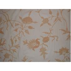 Crewel Fabric Marigold Vine Peach on Off White Cotton