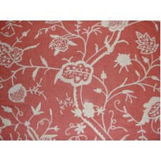 Crewel Fabric Lotus White on Bright Coral Linen