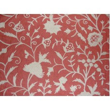 Crewel Fabric Tree of Life White on Bright Coral Linen