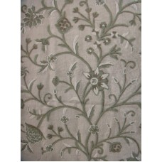 Crewel Fabric Tree of Life Neutrals on Natural Brown Club Linen