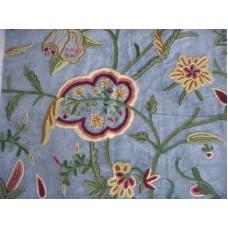 Crewel Fabric Lotus Classic Indigo Blue Cotton Velvet