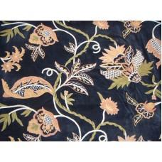 Crewel Fabric Flora Nature Colors on Black Nocturn Cotton Velvet