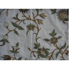 Crewel Fabric Marigold Vine Forest Colors on Off White Cotton Du
