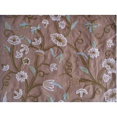 Crewel Fabric Grapes Cocoa Brown Cotton Duck
