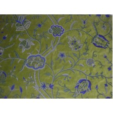 Crewel Fabric Lotus Olive Green Cotton Velvet