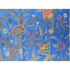 Crewel Fabric Tree of Life Royal Blue Cotton velvet