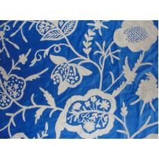Crewel Fabric Lotus White on Indigo Blue Cotton velvet