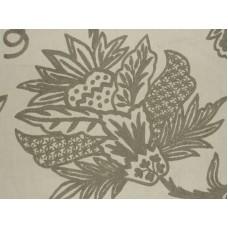 Crewel Fabric Flora Grey on Off White Cotton