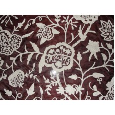 Crewel Fabric Lotus Classic White on Vermilion Silk Organza