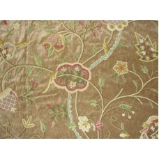 Crewel Fabric Lotus Sparrow Cotton Velvet