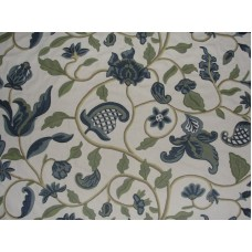 Crewel Fabric Hearty Florals Blues on Off White Cotton Duck