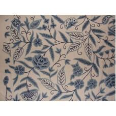Crewel Fabric Blue Park Blues on Off White Cotton