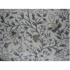 Crewel Fabric Tree of Life Sage Blue Cotton Duck