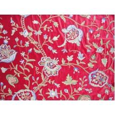 Crewel Fabric Lotus Vine Dreams Red Cotton Velvet