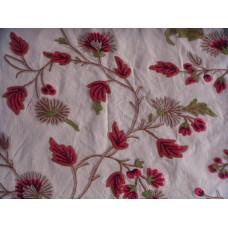 Crewel Fabric Wintertime Khaki Cotton Duck