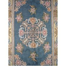 Crewel Rug Gulchand Blue Chain Stitched Wool Rug (2x3FT)