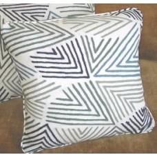Crewel Pillow Curvilinear Blues on White Cotton Velvet (18x18)