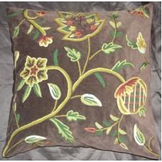 Crewel Pillow Delphinium Dark Chocolate Cotton Velvet (20x20)