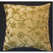 Crewel Pillow Fulmaal Chocolate Cotton Velvet (20x20)
