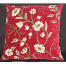 Crewel Pillow Grapes Dream Red Velvet (26x26)