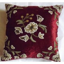 Crewel Pillow Sham Marries Cotton Viscose Velvet (16x16)
