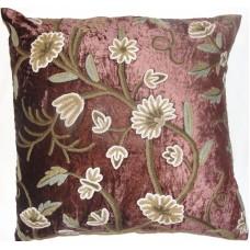 Crewel Pillow Grapes Slate Burgundy Cotton Viscose Velvet (20x20