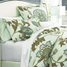 Crewel Pillow Euro Sham Giverny Green Tones on Ivory Cotton Duck